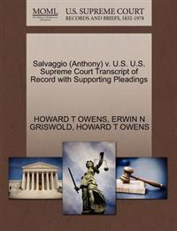 Salvaggio (Anthony) V. U.S. U.S. Supreme Court Transcript of Record with Supporting Pleadings