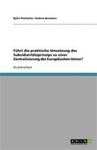 Fuhrt Die Praktische Umsetzung Des Subsidiaritatsprinzips Zu Einer Zentralisierung Der Europaischen Union?