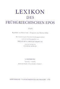 Lexikon Des Fruhgriechischen EPOS
