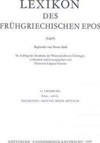 Lexikon Des Fruhgriechischen Epos Lfg. 13