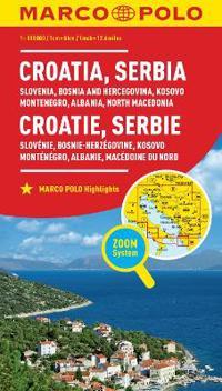 MARCO POLO Länderkarte Kroatien, Serbien, Bosnien und Herzegowina 1:800 000