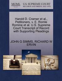 Harold D. Cramer Et Al., Petitioners, V. E. Romle Romine Et Al. U.S. Supreme Court Transcript of Record with Supporting Pleadings