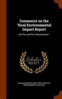 Comments on the Final Environmental Impact Report