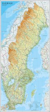 Sverige väggkarta 1:1,3milj Norstedts i tub : 1:1,3milj