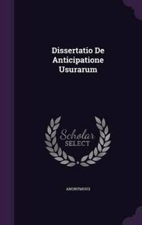 Dissertatio de Anticipatione Usurarum
