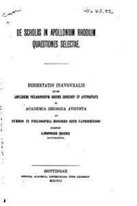 de Scholiis in Apollonium Rhodium Quaestiones Selectae