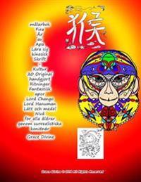 Malarbok Fira AR AV APA Lara Sig Kinesisk Skrift + Kultur 20 Original Handgjort Ritningar Fantastisk Apor Lord Chango Lord Hanuman Latt Och Medel Niva