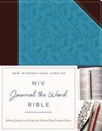 NIV, Journal the Word Bible, Imitation Leather, Brown/Blue: Reflect, Journal, or Create Art Next to Your Favorite Verses