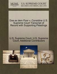 Doe Ex Dem Poor V. Considine U.S. Supreme Court Transcript of Record with Supporting Pleadings