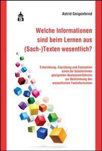 Welche Informationen sind beim Lernen aus (Sach-)Texten wesentlich?