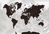 Världen väggkarta Black and white Norstedts i tub