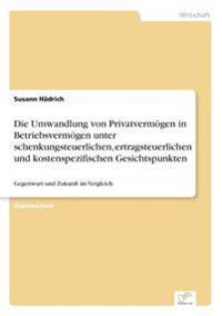 Die Umwandlung Von Privatvermogen in Betriebsvermogen Unter Schenkungsteuerlichen, Ertragsteuerlichen Und Kostenspezifischen Gesichtspunkten