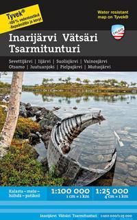 Inarijärvi Vätsäri Tsarmitunturi vesistökartta 1:100 000/1:25 000