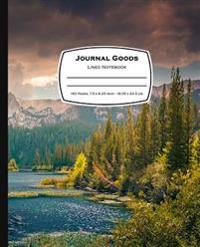 Journal Goods Lined Notebook: Mountain Lake Design, 7.5 X 9.25, 160 Pages for Writing, Lined Composition Blank Book Journal for School, Office, Arti