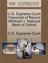 U.S. Supreme Court Transcript of Record Whitman V. National Bank of Oxford
