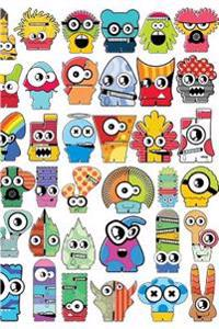 """Cute Little Monsters Lined Notebook: 108 Ruled Pages. White Paper. Soft Cover. 6 X 9."""" Colorful Design for Children, Tweens, or Teens, Boys & Girls, U"""