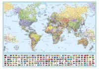 Världen politisk 1:35 milj. - enkel väggkarta i plasttub
