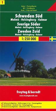 Sweden South - Malmo - Helsingborg - Kalmar Sheet 1 Road Map 1:250 000
