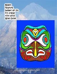 Masker Fargebok Indianer Art Stil for Voksne Etter Artist Grace Divine