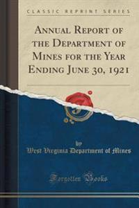 Annual Report of the Department of Mines for the Year Ending June 30, 1921 (Classic Reprint)