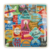 Vintage Travel Labels Square Tray