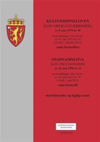 Kulturminneloven ; Stadnamnloven : (lov om stadnamn) av 18. mai 1990 nr. 11 : med endringer, sist ved lov av 19. juni 2015 nr. 74 (i kraft 1. juli 2015) : samt forskrift : med historiske og faglige noter -  pdf epub