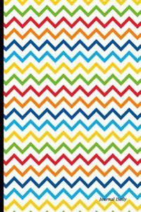 Journal Daily: Colorful Chevron Decor, Lined Blank Journal Book, 6 X 9, 150 Pages, Paperback,6 X 9 (15.24 X 22.86 CM) Black & White P