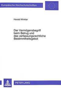 Der Vermoegensbegriff Beim Betrug Und Das Verfassungsrechtliche Bestimmtheitsgebot: Zur Auslegung Des Merkmals -Vermoegen- In 263 Stgb Unter Dem Aspek