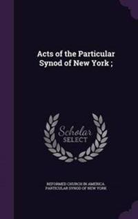 Acts of the Particular Synod of New York;