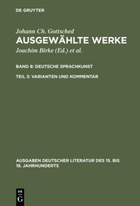 Deutsche Sprachkunst. Varianten und Kommentar
