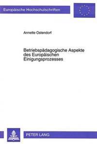 Betriebspaedagogische Aspekte Des Europaeischen Einigungsprozesses