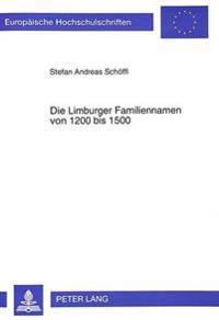 Die Limburger Familiennamen Von 1200 Bis 1500