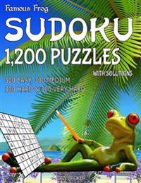 Famous Frog Sudoku 1,200 Puzzles with Solutions. 300 Easy, 300 Medium, 300 Hard & 300 Very Hard: A Beach Bum Series 2 Book