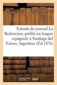 Extraits Du Journal La Redencion, Langue Espagnole � Santiago del Estero, Chef-Lieu, Argentine