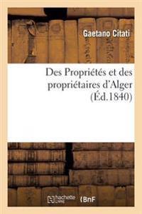Des Propri�t�s Et Des Propri�taires d'Alger