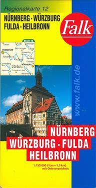 Falk Regionalkarten Deutschland Blad 12: Nürnberg, Würzburg, Fulda