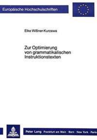 Zur Optimierung Von Grammatikalischen Instruktionstexten