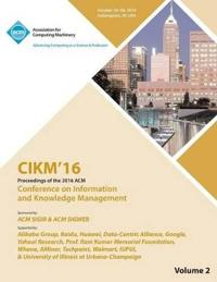 Cikm 16 ACM Conference on Information and Knowledge Management Vol 2