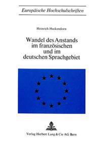 Wandel Des Anstands Im Franzoesischen Und Im Deutschen Sprachgebiet