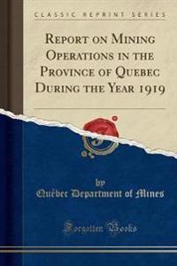 Report on Mining Operations in the Province of Quebec During the Year 1919 (Classic Reprint)