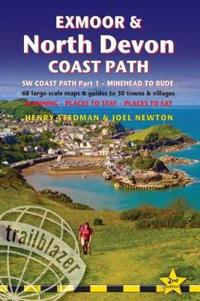 Exmoor & North Devon Coast Path: British Walking Guide: SW Coast Path Part 1 - Minehead to Bude: 68 Large-Scale Maps & Guides to 30 Towns & Villages -
