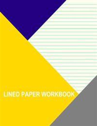 Lined Paper Workbook: Light Yellow with Medium Aqua Lines (Left Handed)