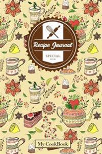 Recipe Journal: Blank Cookbook to Write In, 6 X 9,104 Pages: Vintage Evening Tea Time