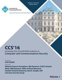 CCS 16 2016 ACM Sigsac Conference on Computer and Communications Security Vol 1