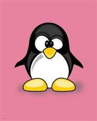 Notebook: Pink Penguin Cartoon Cover, 80 Lined Pages, 8 X 10, Glossy Cover