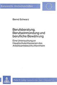Berufsberatung, Berufseinmuendung Und Berufliche Bewaehrung: Eine Untersuchung an Hauptschulentlassenen Des Arbeitsamtsbezirks Mannheim