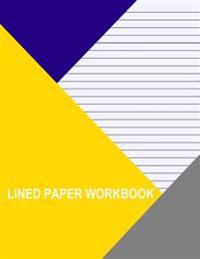Lined Paper Workbook: Blue with Medium Black Lines (Left Handed)