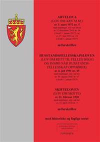 Arvelova ; Husstandsfellesskapsloven : (lov om rett til felles bolig og innbo når husstandsfellesskap opphører) av 4. juli 1991 nr. 45 : med endringer, sist ved lov av 30. august 2002 nr. 67 (i kraft 1. januar 2013) ; Skifteloven : (lov om skifte) av 21. februar 1930 : med endringer, sist ved lov av 22. april 2016 nr. 3 : m/forskrifter : med historiske og faglige noter