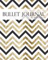 Bullet Journal Notebook, Dotted Grid, Graph Grid-Lined Paper, Large, 8x10, 150 Pages: Metallic Black Gold Chevron Geometric Abstract Cover: Master Jou