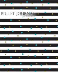 "Bullet Journal Notebook Dotted Grid, Graph Grid-Lined Paper, Large, 8""x10,""150 Pages: Geometric Fashion Modern Covers Black White Stripes Blue Gold Gl"